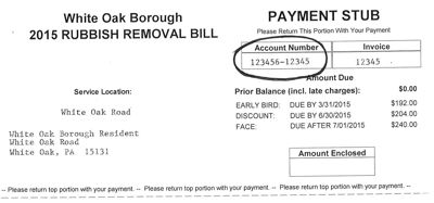 2015 Rubbish Bill Invoice Number Location Sample