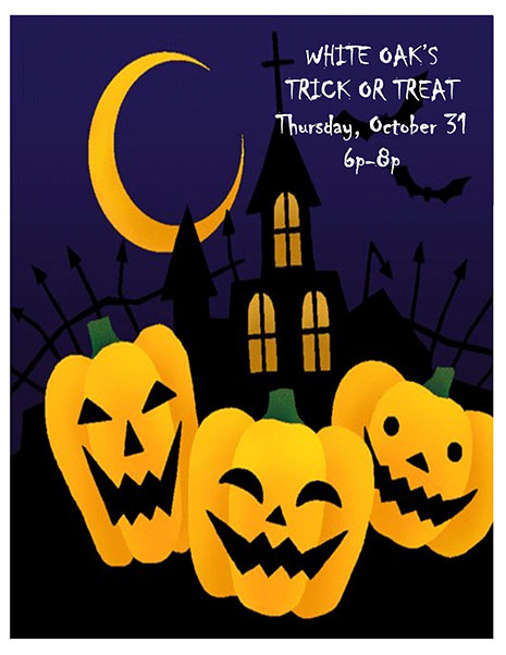 Trick or Treat October 31st, 6-8 pm