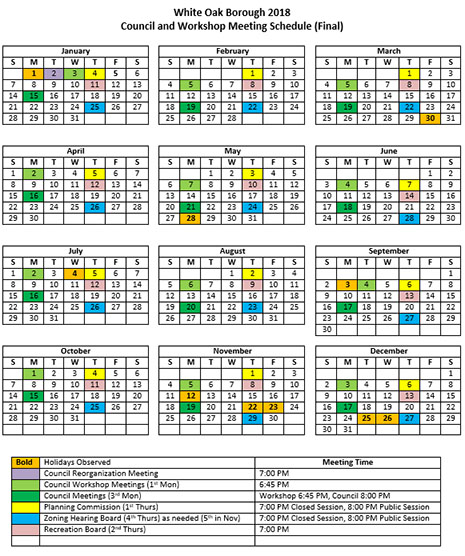 White Oak Borough 2018 Council and Workshop Meeting Schedule